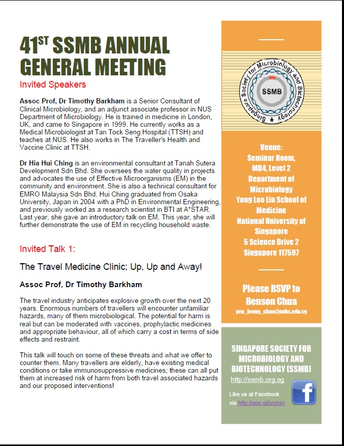41st SSMB Annual General Meeting Invited Talk 1